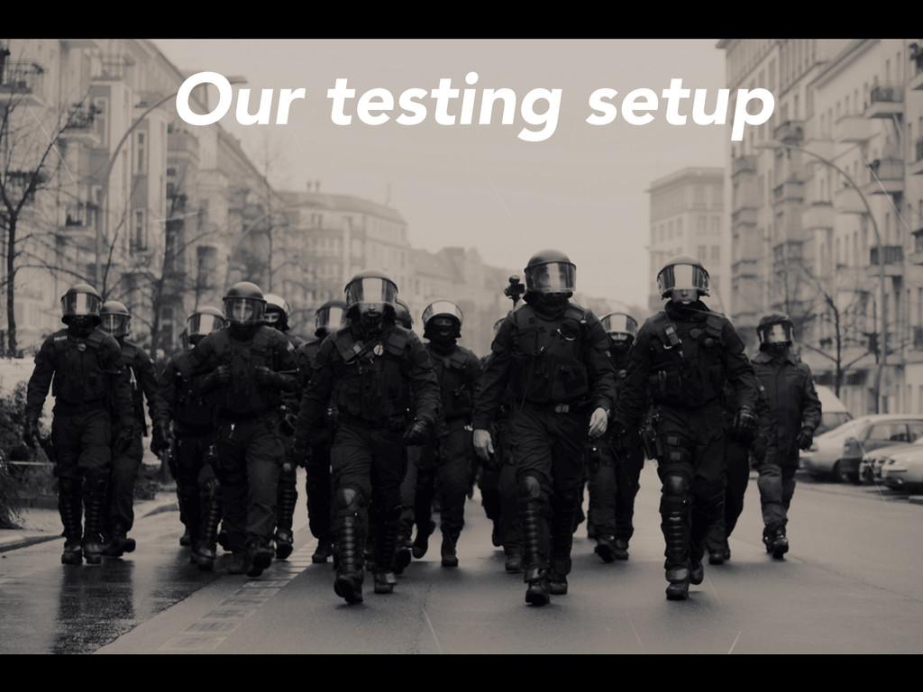 Our testing setup