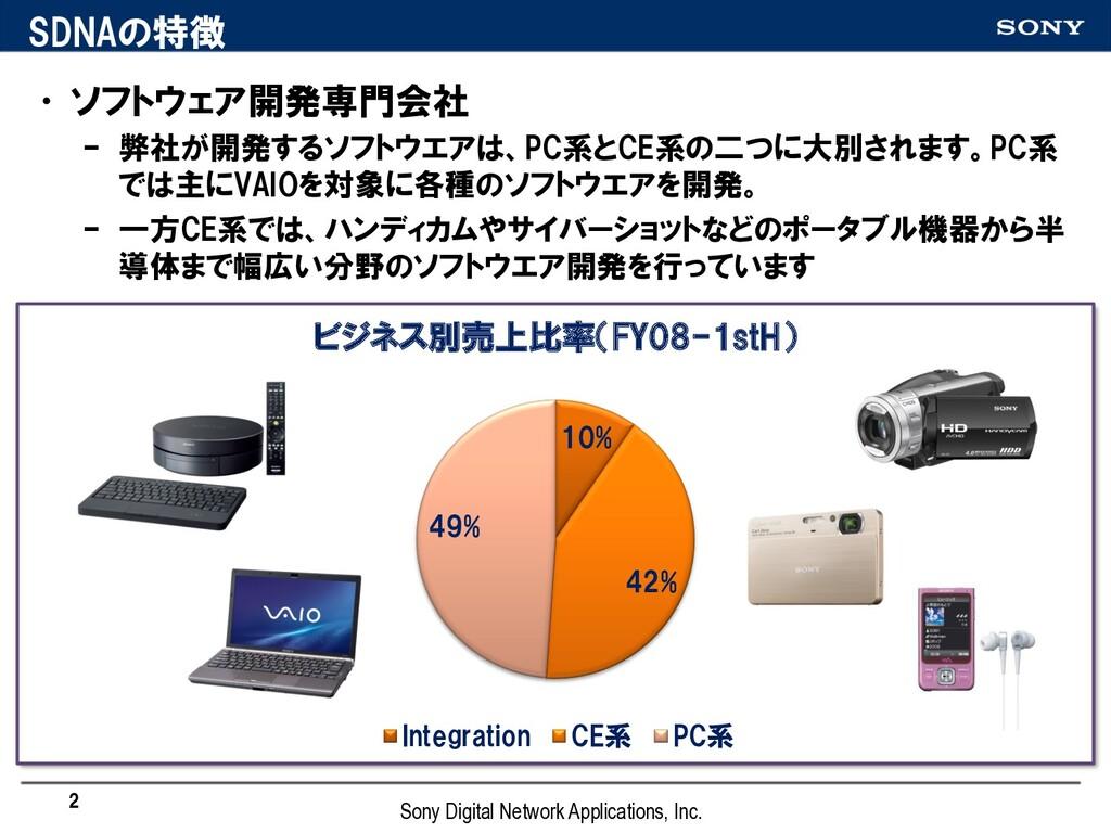 SDNAの特徴 •ソフトウェア開発専門会社 – 弊社が開発するソフトウエアは、PC系とCE系の...