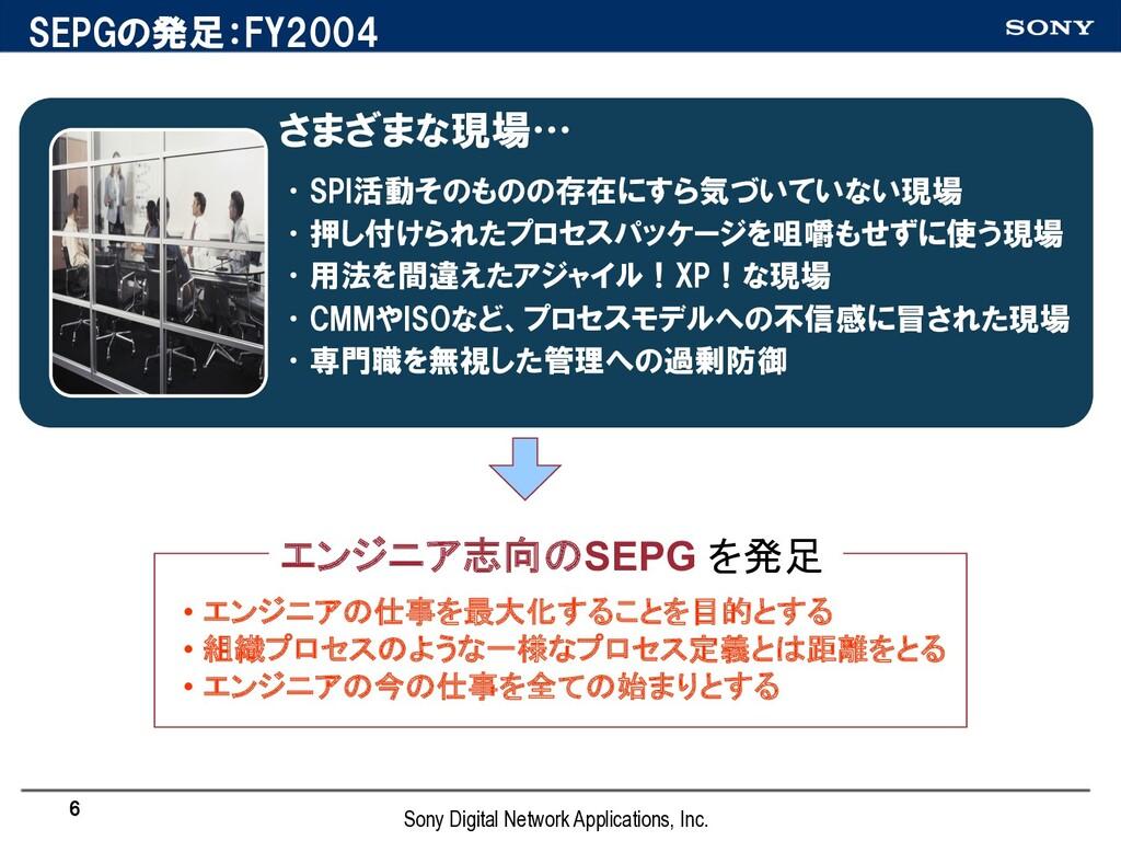 SEPGの発足:FY2004 さまざまな現場… •SPI活動そのものの存在にすら気づいていない...