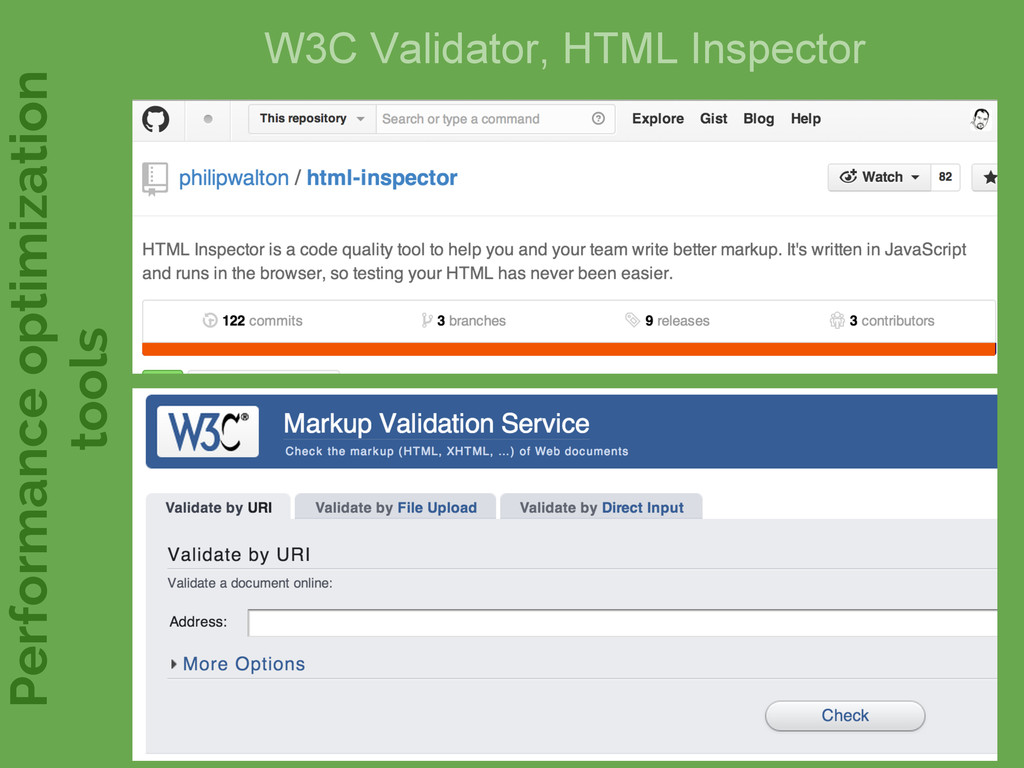 W3C Validator, HTML Inspector Performance optim...