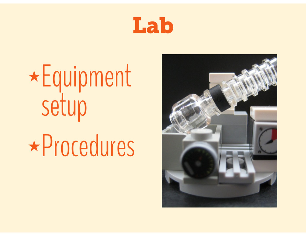 Lab ★Equipment setup ★Procedures