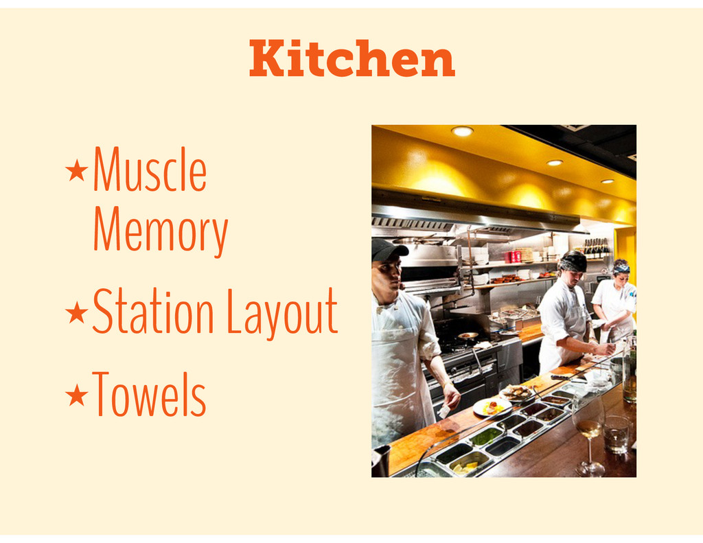 Kitchen ★Muscle Memory ★Station Layout ★Towels