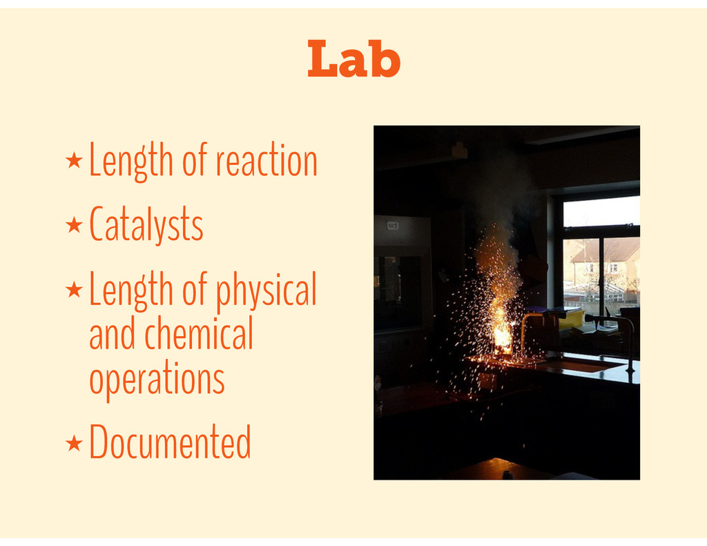 Lab ★ Length of reaction ★ Catalysts ★ Length o...