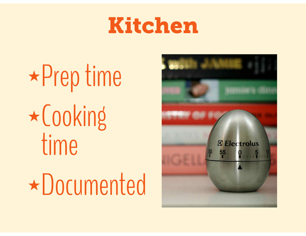 Kitchen ★Prep time ★Cooking time ★Documented