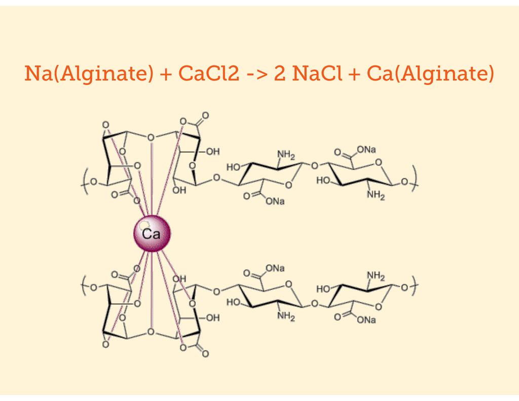 Na(Alginate) + CaCl2 -> 2 NaCl + Ca(Alginate)