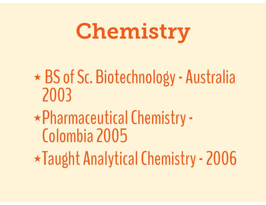 Chemistry ★ BS of Sc. Biotechnology - Australia...