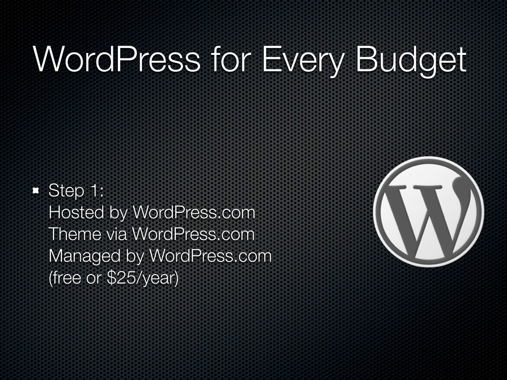 WordPress for Every Budget Step 1: Hosted by Wo...