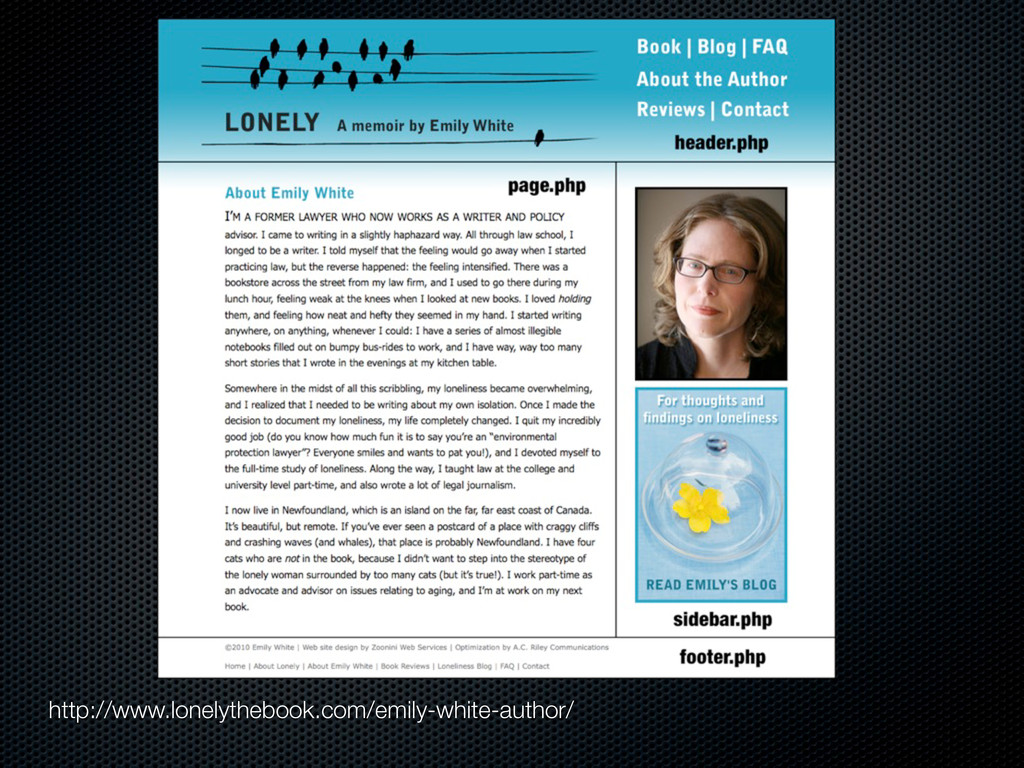 http://www.lonelythebook.com/emily-white-author/