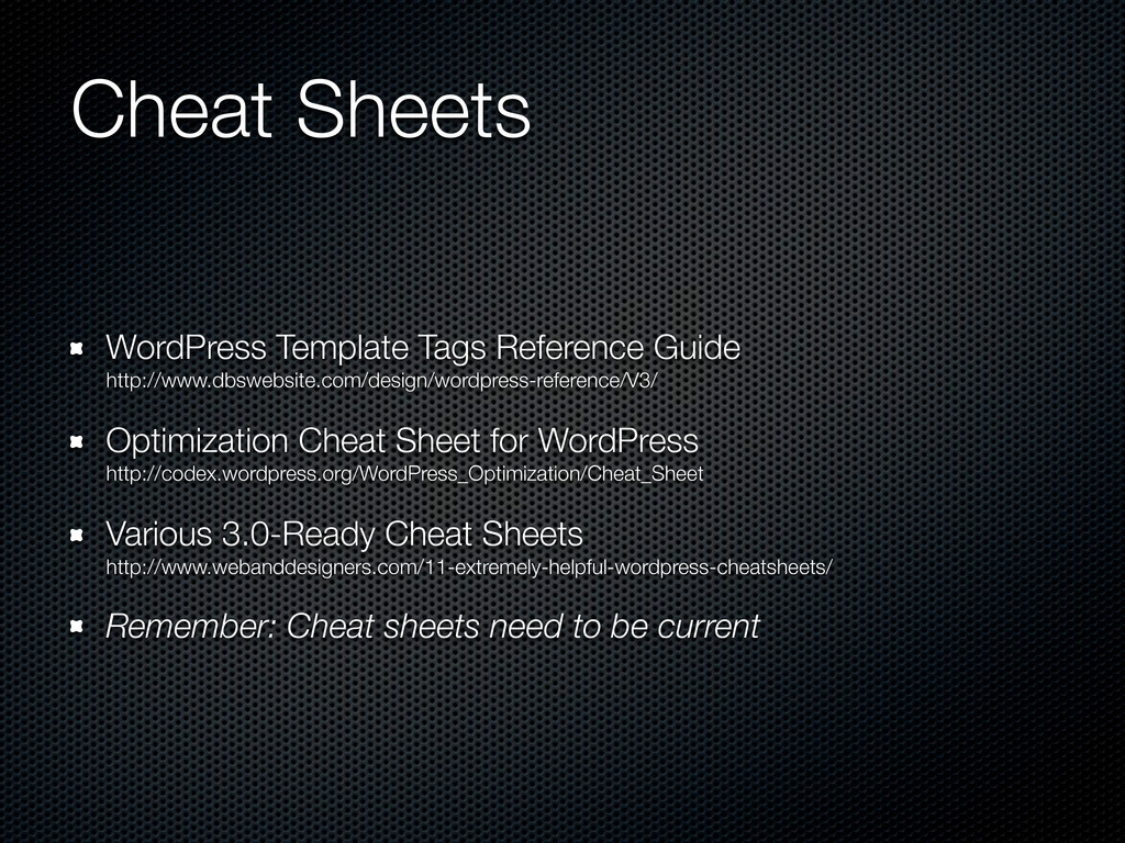 Cheat Sheets WordPress Template Tags Reference ...