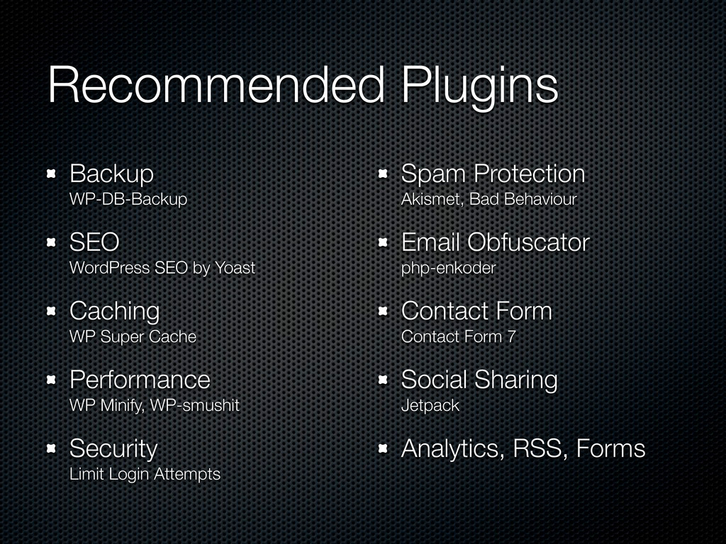 Recommended Plugins Backup WP-DB-Backup SEO Wor...
