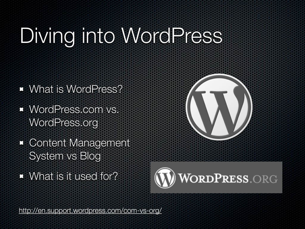 Diving into WordPress What is WordPress? WordPr...