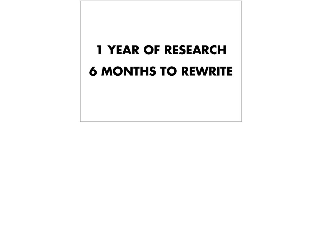1 YEAR OF RESEARCH 6 MONTHS TO REWRITE