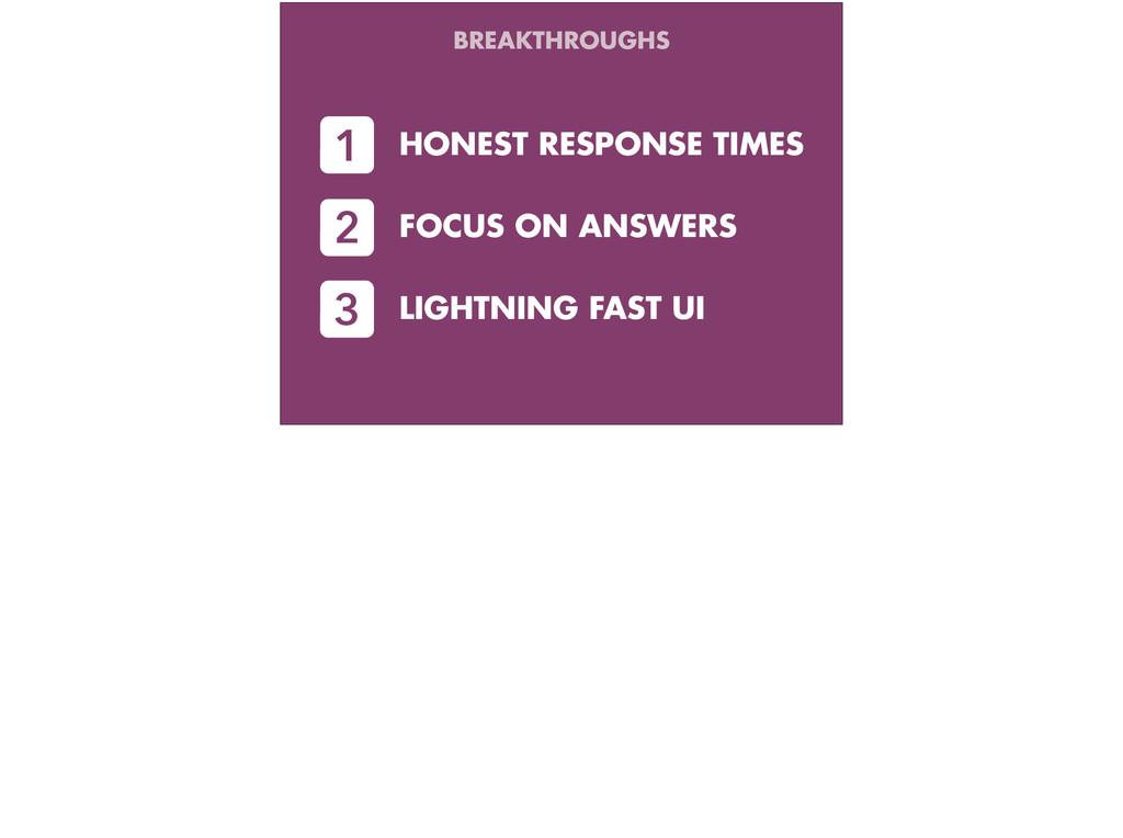 HONEST RESPONSE TIMES 1 FOCUS ON ANSWERS 2 LIGH...