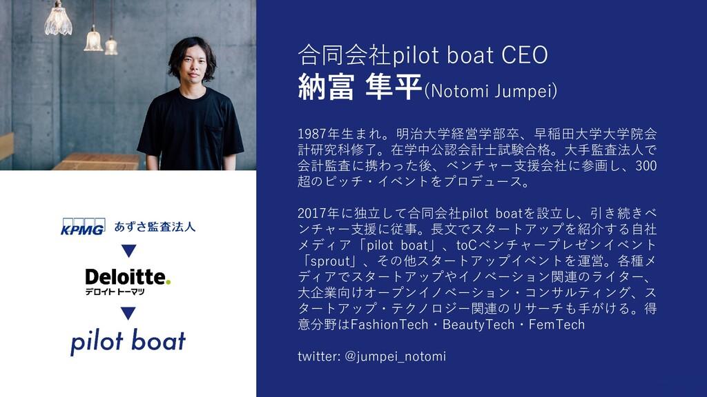 合同会社pilot boat CEO 納富 隼平(Notomi Jumpei) 1987年生ま...