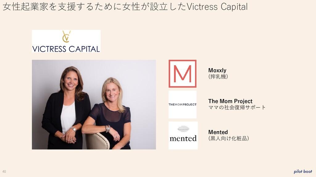 40 女性起業家を支援するために女性が設立したVictress Capital Moxxly ...