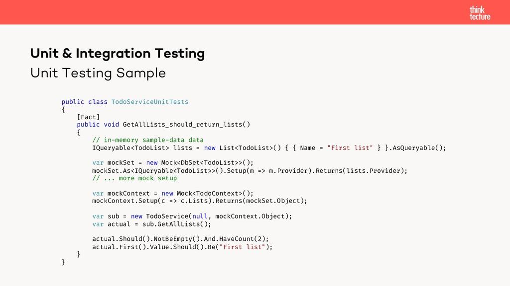 Unit Testing Sample Unit & Integration Testing ...