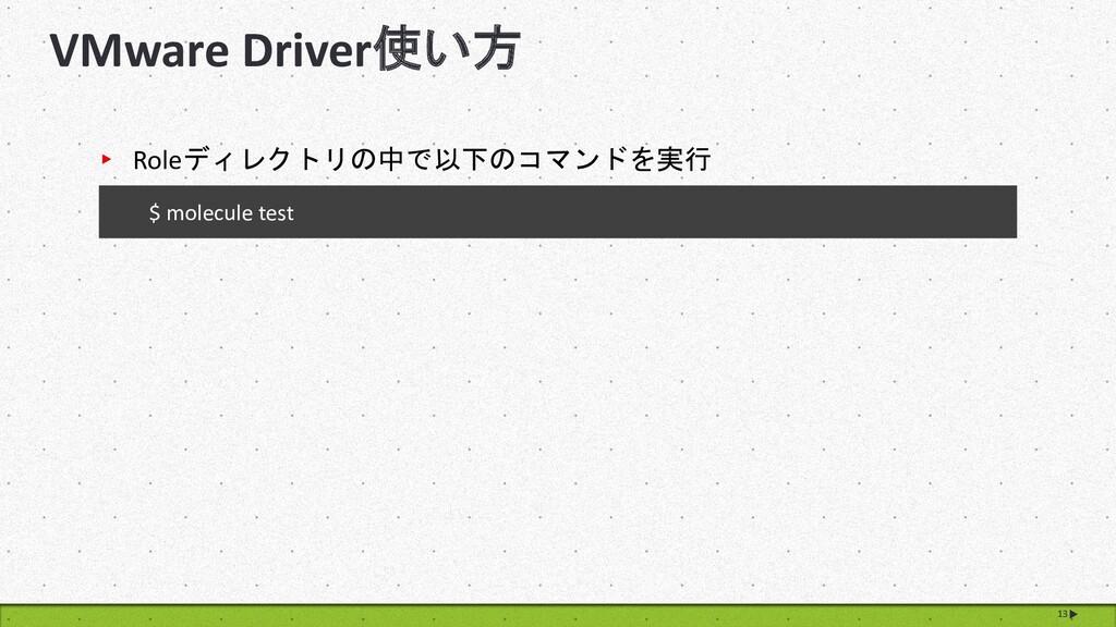VMware Driver使い方 13 $ molecule test ▸ Roleディレクト...