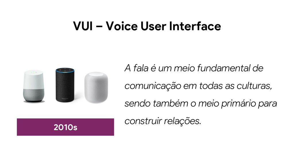 VUI – Voice User Interface 2010s A fala é um me...