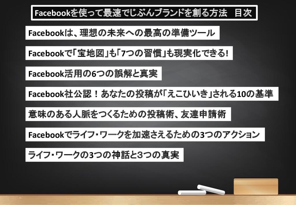Facebookを使って最速でじぶんブランドを創る方法 目次 Facebookは、理想の未来へ...