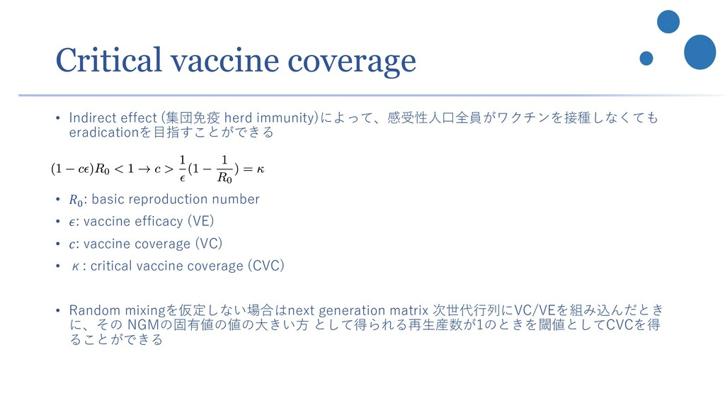Critical vaccine coverage • Indirect effect (集団...