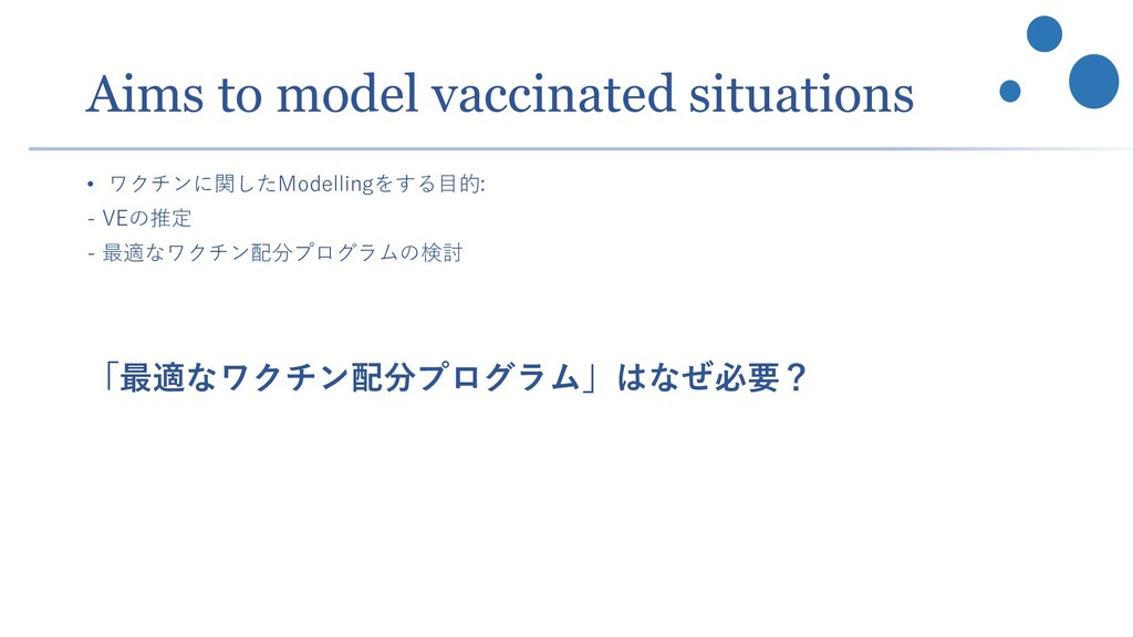Aims to model vaccinated situations • ワクチンに関したM...