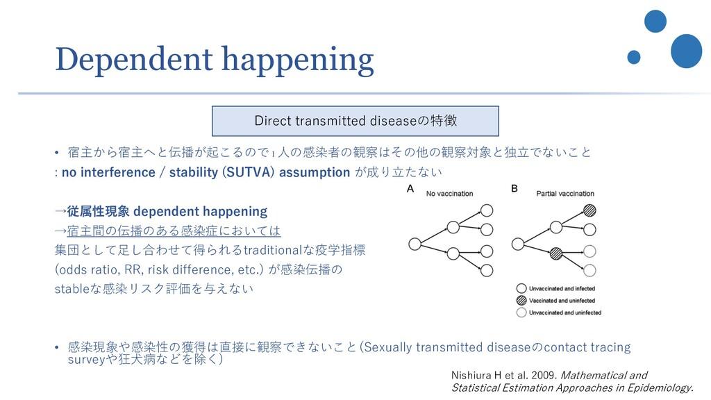 Dependent happening • 宿主から宿主へと伝播が起こるので1 人の感染者の観...