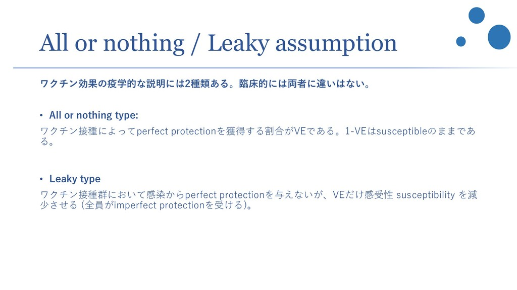 All or nothing / Leaky assumption ワクチン効果の疫学的な説明...