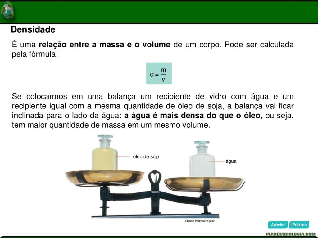 Densidade Cláudio Pedroso/Angular óleo de soja ...
