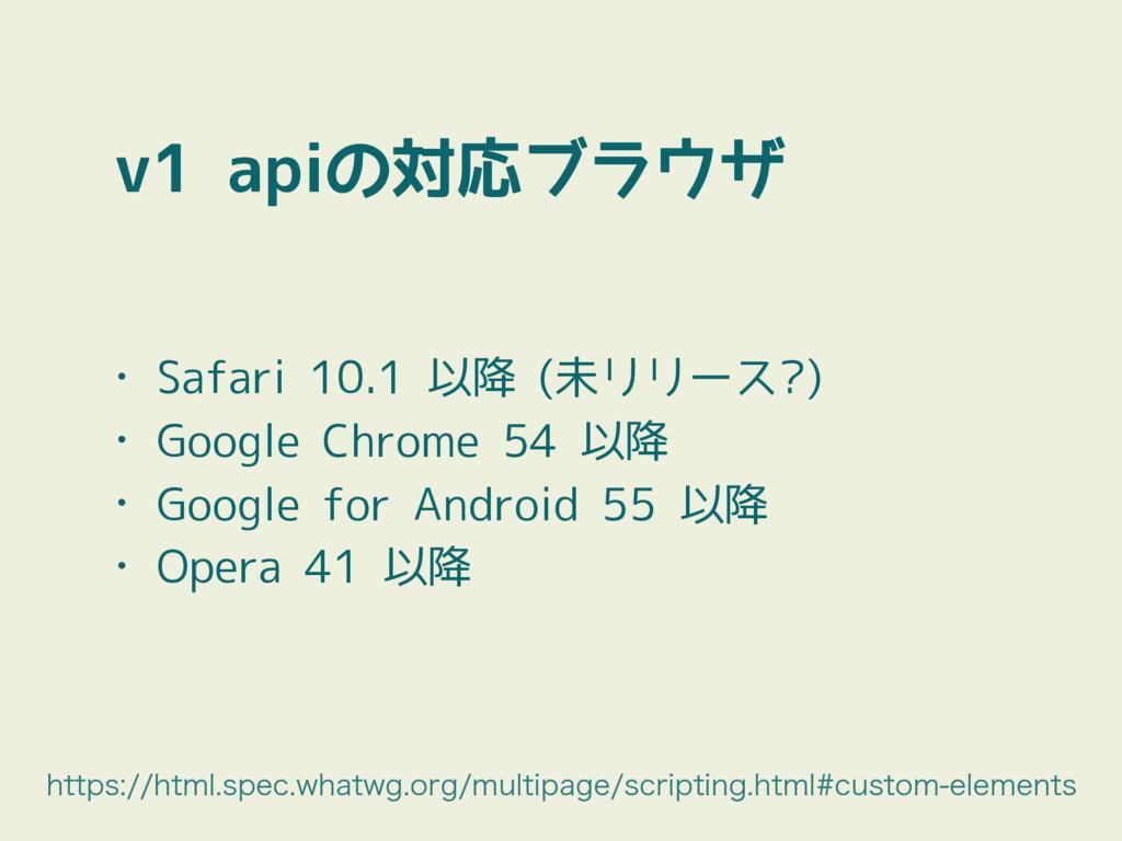 v1 apiの対応ブラウザ • Safari 10.1 以降 (未リリース?) • Googl...