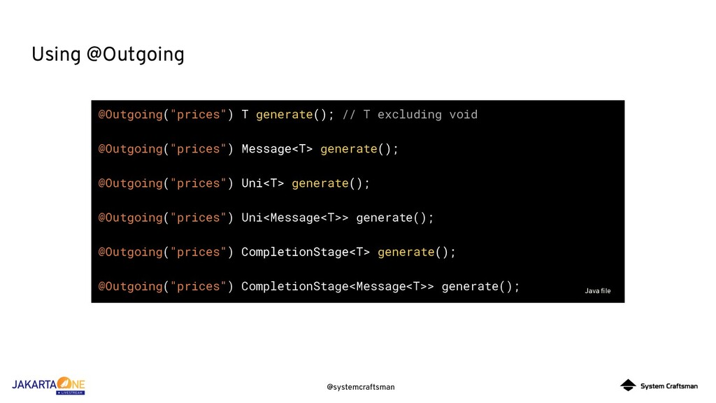 "@systemcraftsman Using @Outgoing @Outgoing(""pri..."