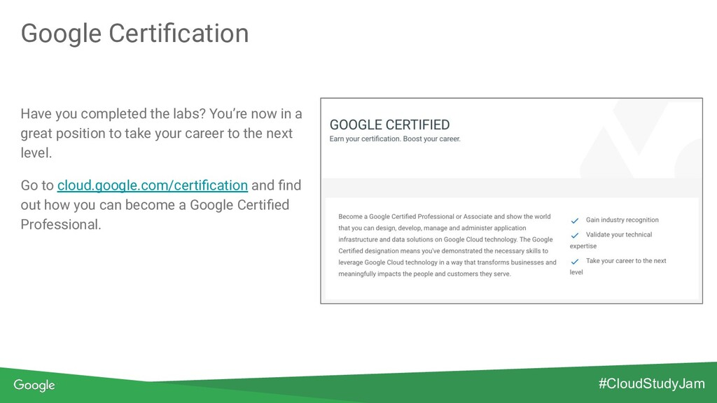 Google Certification Have you completed the labs...