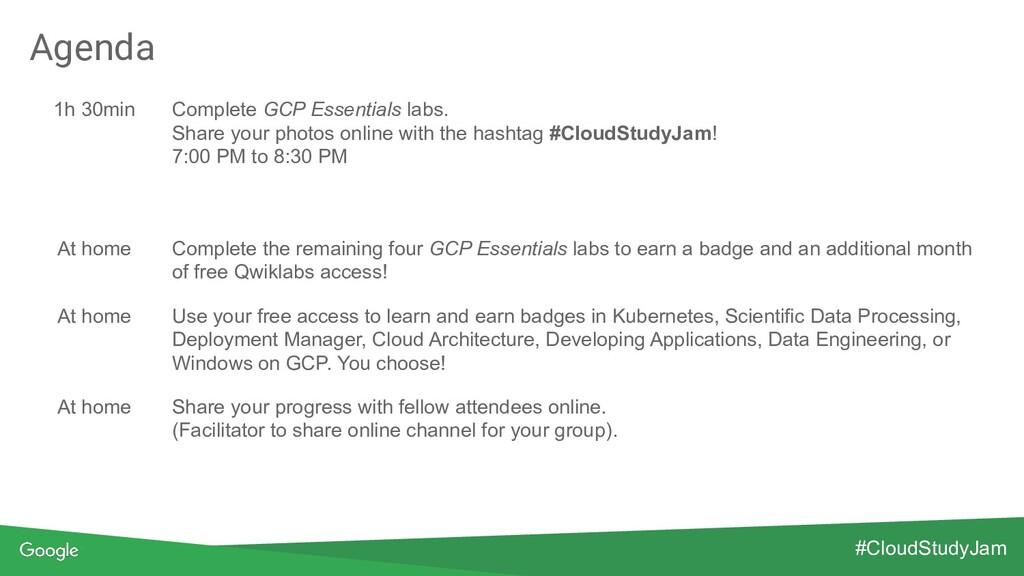 Agenda 1h 30min Complete GCP Essentials labs. S...