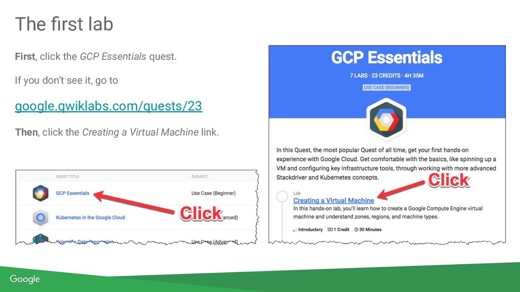 First, click the GCP Essentials quest. If you d...