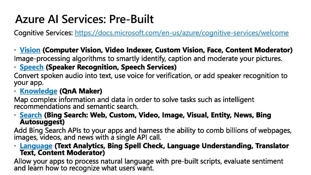 Azure AI Services: Pre-Built https://docs.micro...
