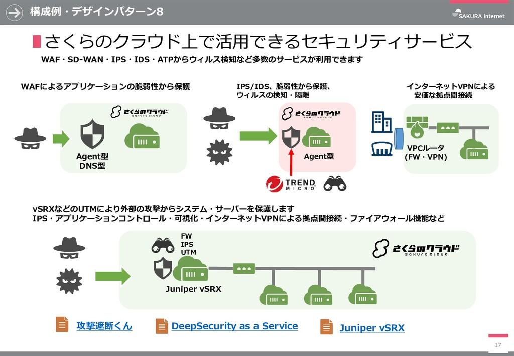 構成例・デザインパターン8 17 ∎さくらのクラウド上で活用できるセキュリティサービス WAF...