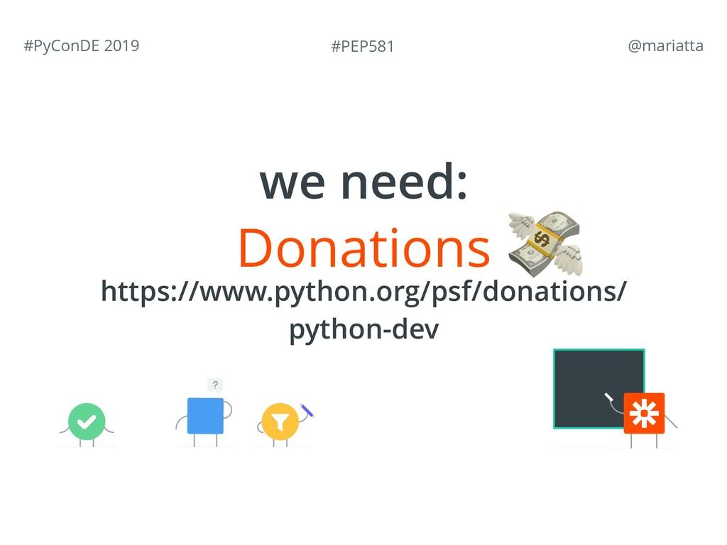 #PEP581 #PyConDE 2019 @mariatta Donations http...
