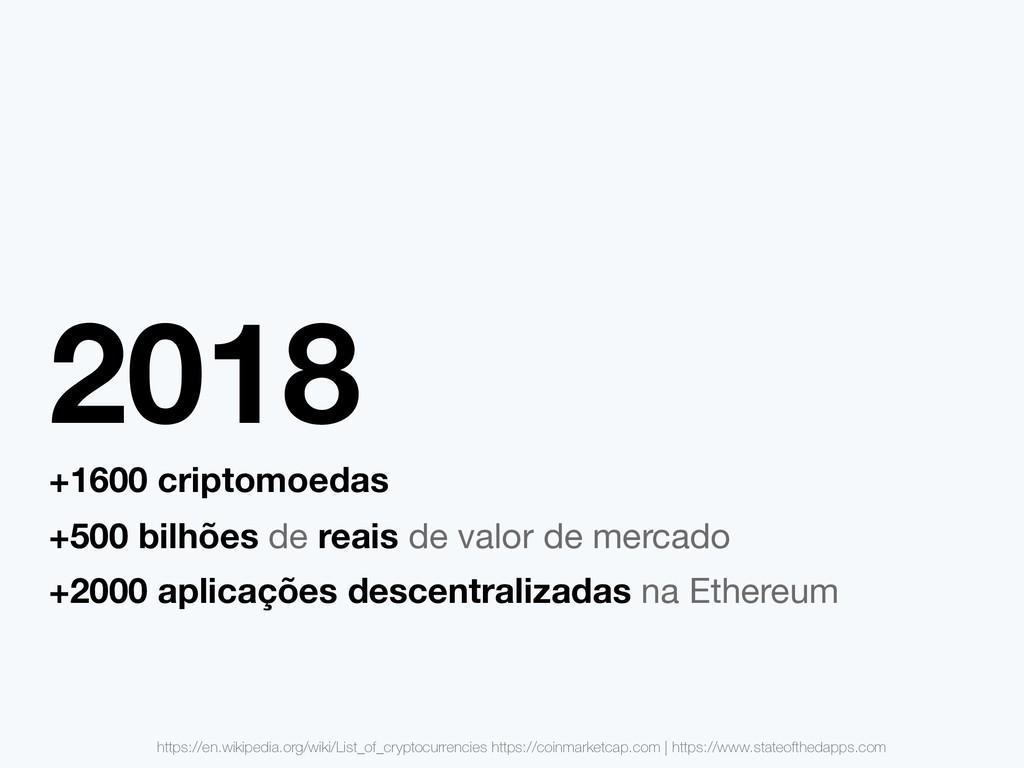 2018 +1600 criptomoedas +500 bilhões de reais d...