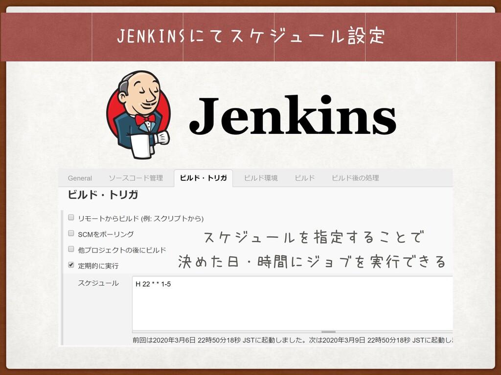 JENKINSにてスケジュール設定 スケジュールを指定することで 決めた日・時間にジョブを実...