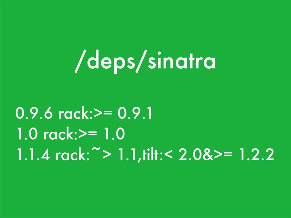 /deps/sinatra 0.9.6 rack:>= 0.9.1 1.0 rack:>= 1...