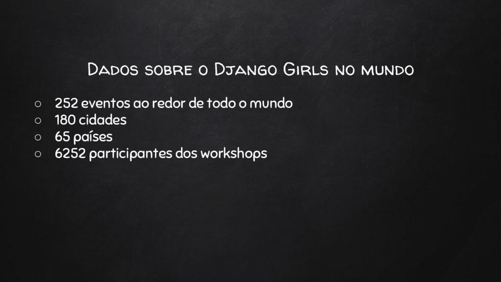 Dados sobre o Django Girls no mundo ○ 252 event...