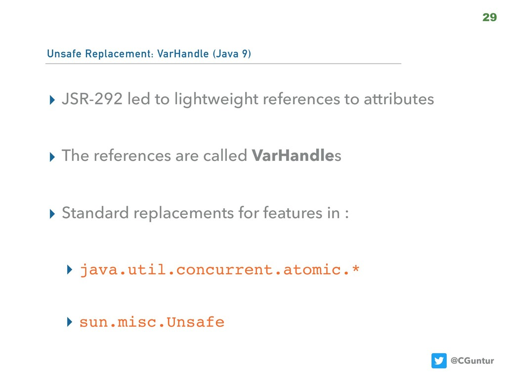 @CGuntur Unsafe Replacement: VarHandle (Java 9)...