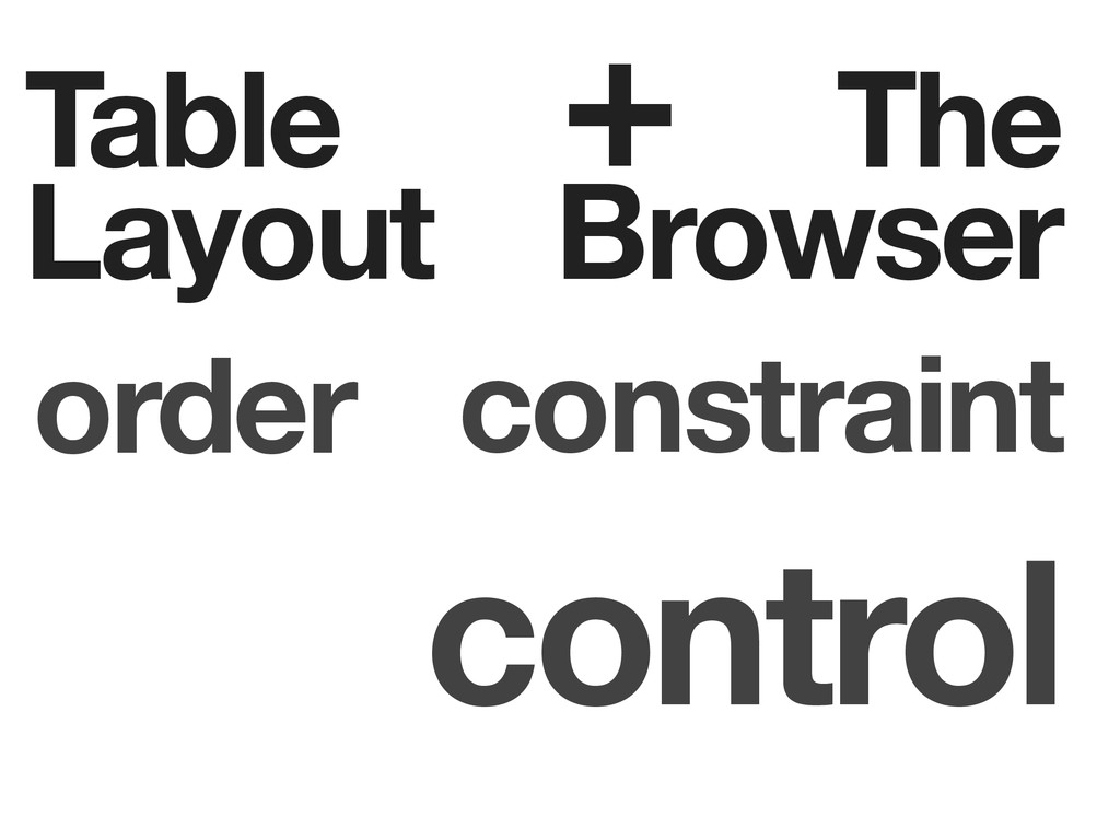 Table Layout The Browser order constraint contr...