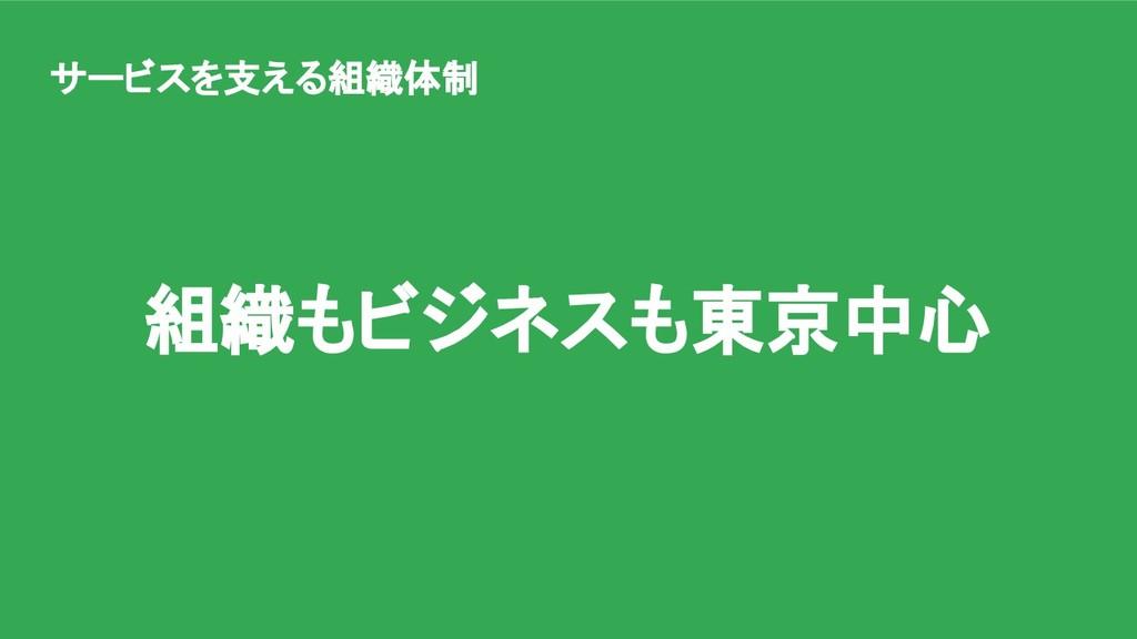 組織もビジネスも東京中心 サービスを支える組織体制