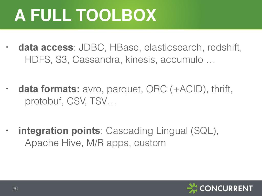 A FULL TOOLBOX 26 • data access: JDBC, HBase, e...