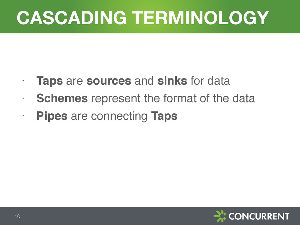 CASCADING TERMINOLOGY 10 • Taps are sources and...