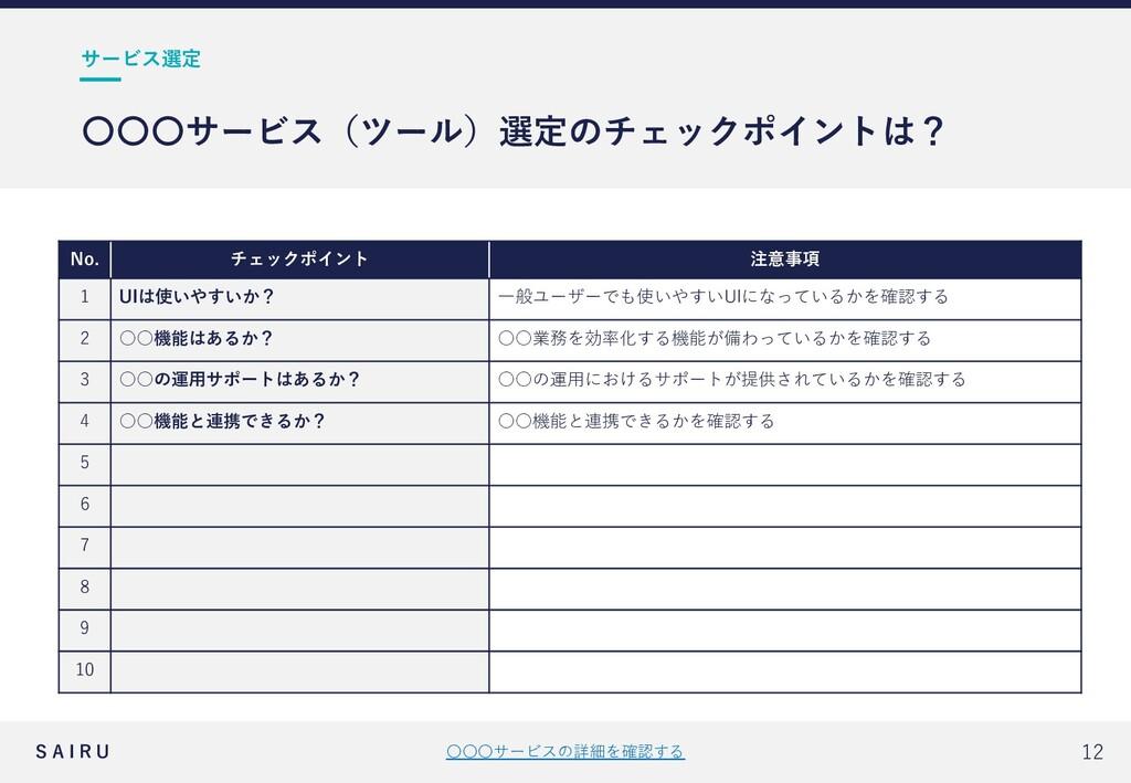 S A I R U 〇〇〇サービスの詳細を確認する 12 サービス選定 〇〇〇サービス(ツール...
