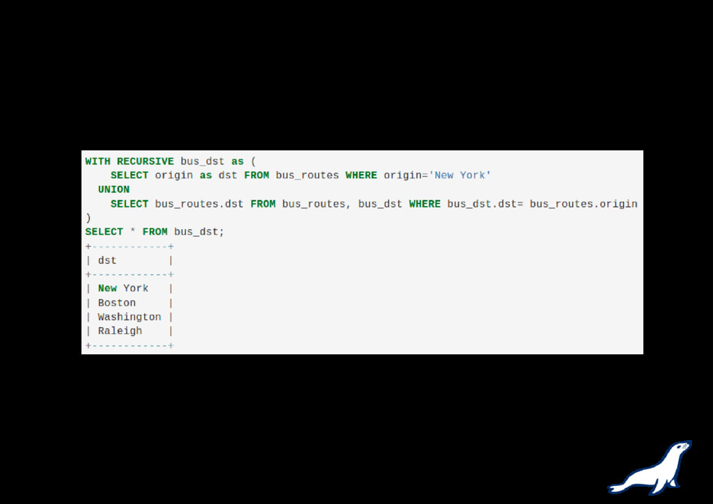 Recursive Common Table Expressions Example