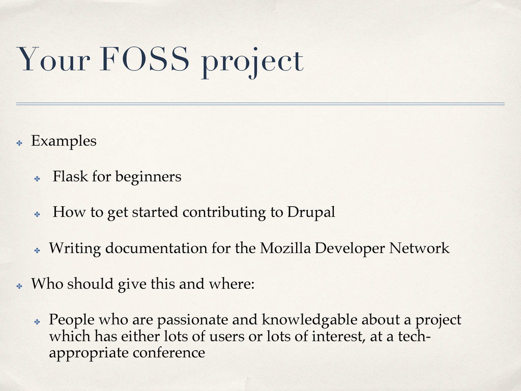 Your FOSS project