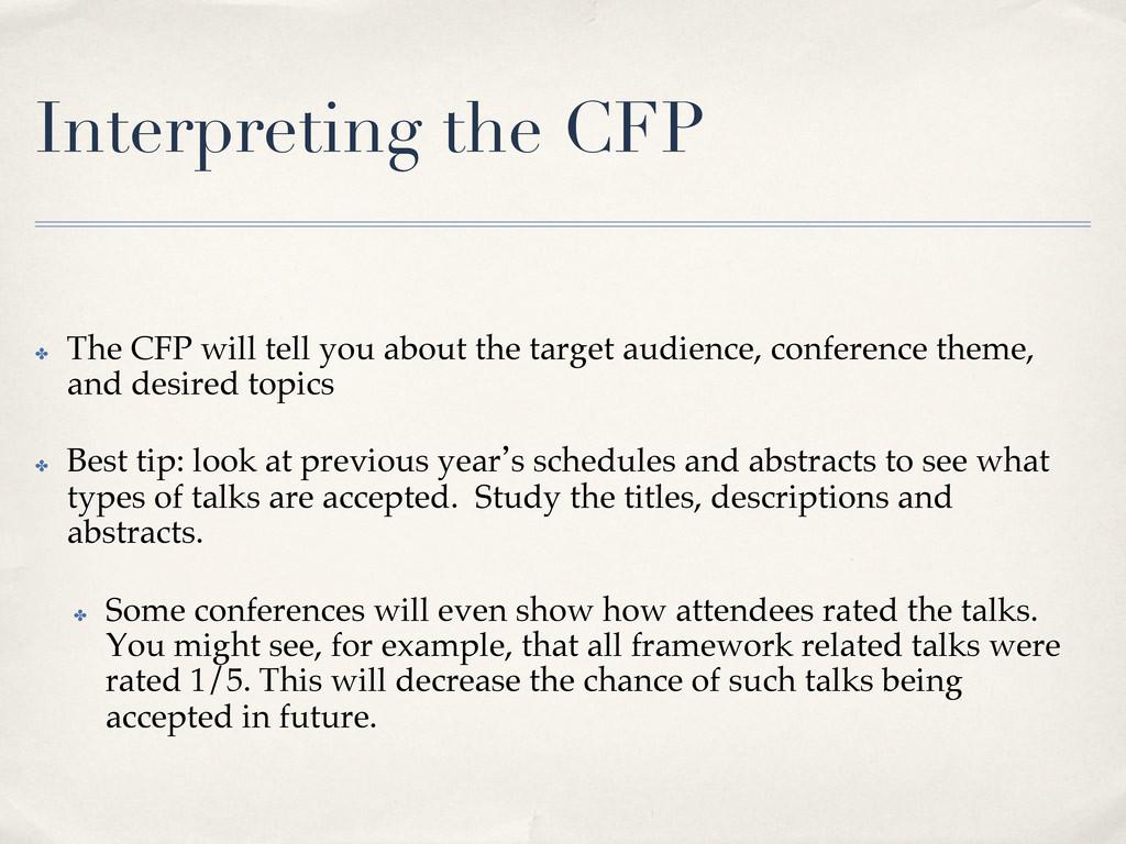 Interpreting the CFP