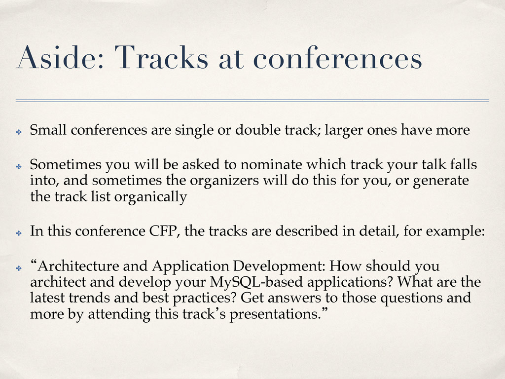 Aside: Tracks at conferences